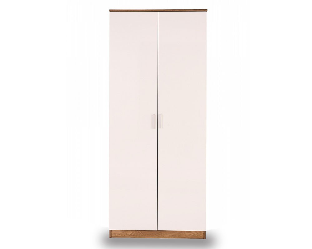 Otto White And Oak 2 Door Robe