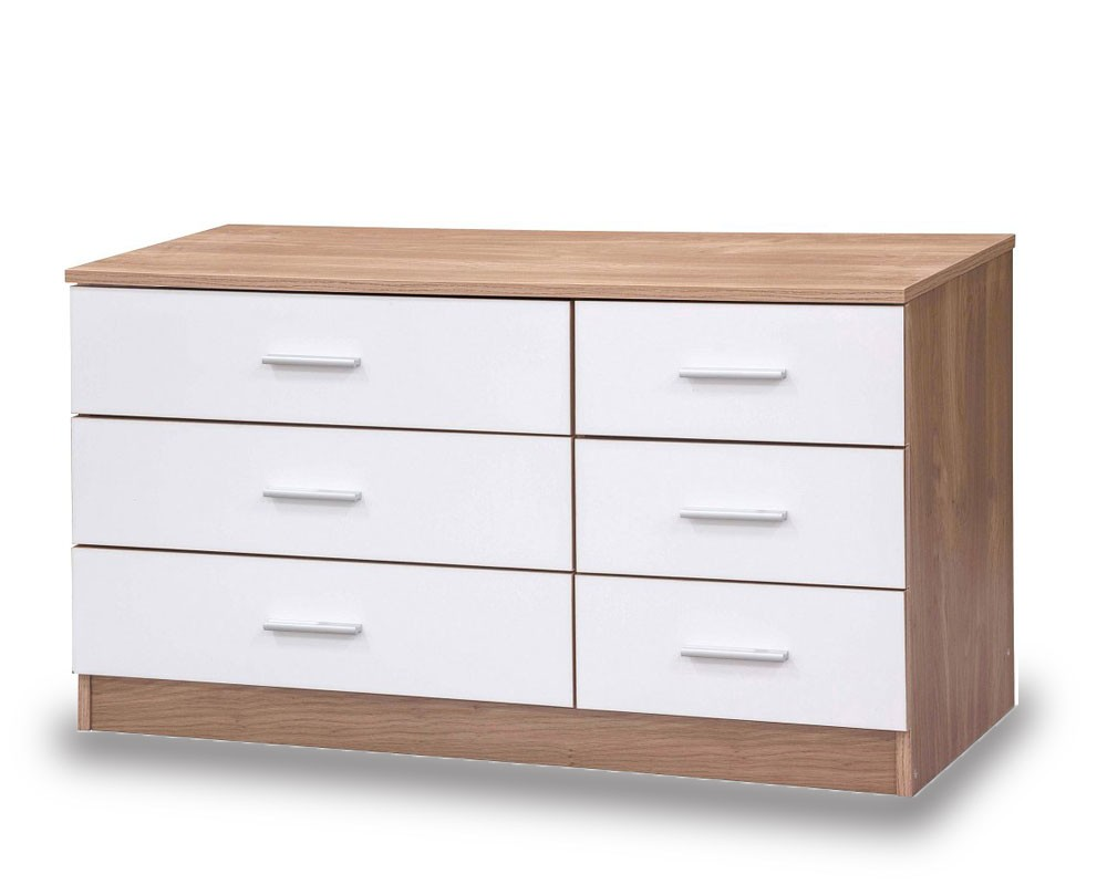 Otto White And Oak High Gloss 6 Drawer Chest