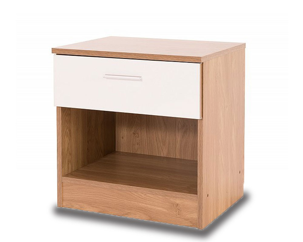 Otto Oak And White Bedside Chest