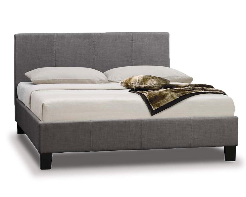 Gray bed frame : Parade grey fabric kingsize bed frame