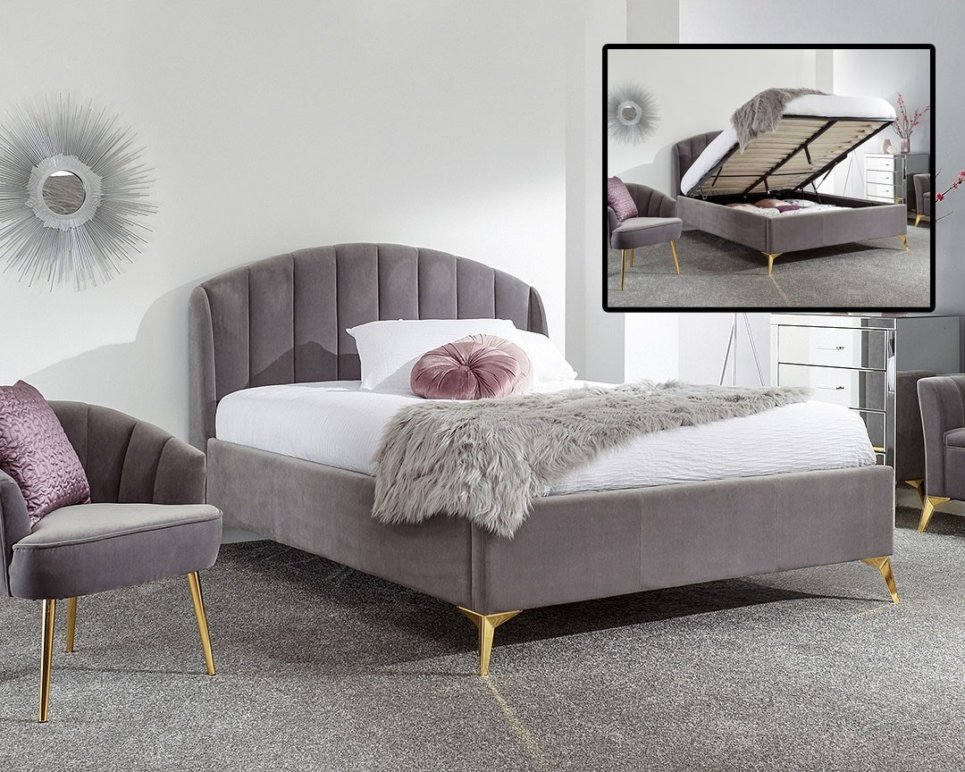 Petal Grey Bed Ottoman Bed Frame