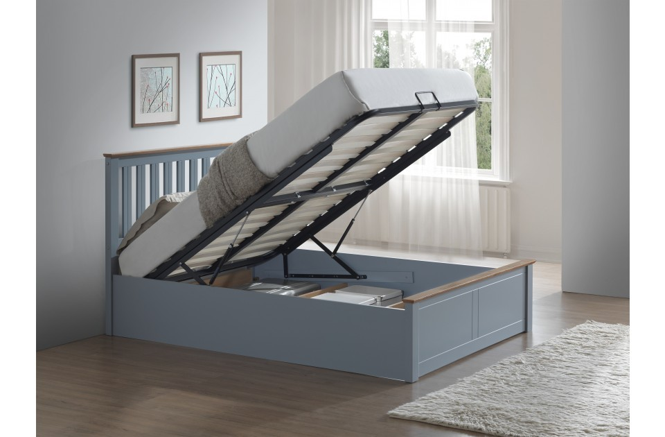 Flame Stone Grey Ottoman Bed Frame
