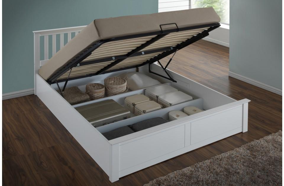 Flame White Ottoman Storage Bed Frame
