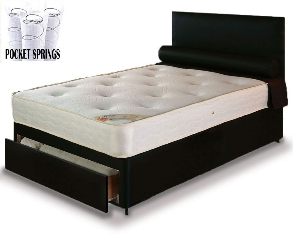 Pocket 1000 Three Quarter End Drawer Divan Bed