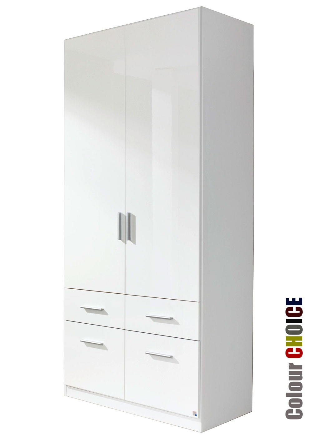 Rauch Cello 2 Door 4 Drawer White Wardrobe
