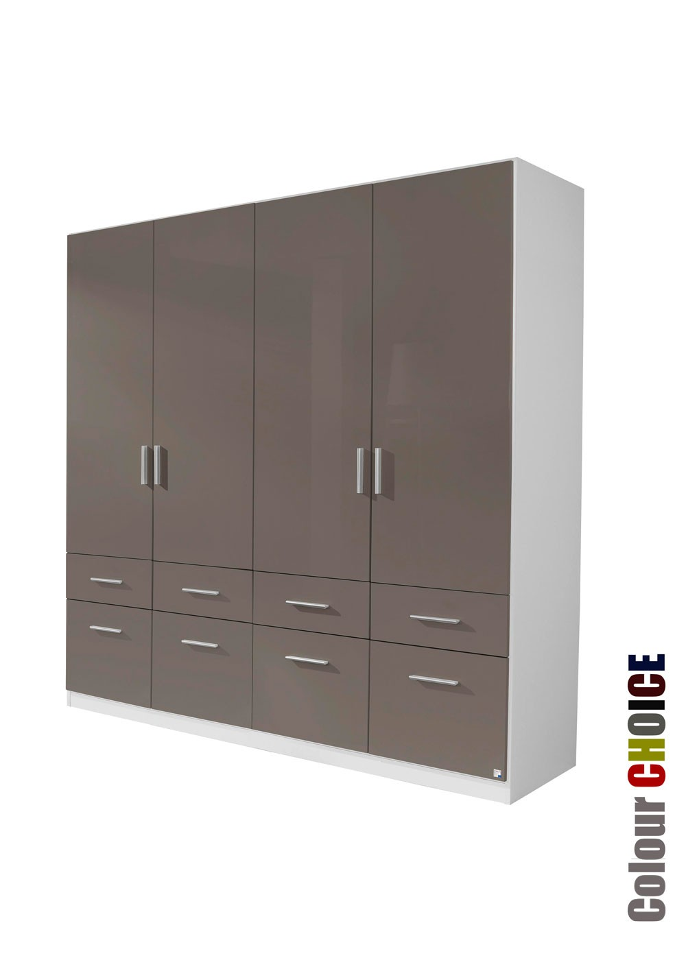 Rauch Cello 4 Door 8 Drawer Lava Grey Wardrobe