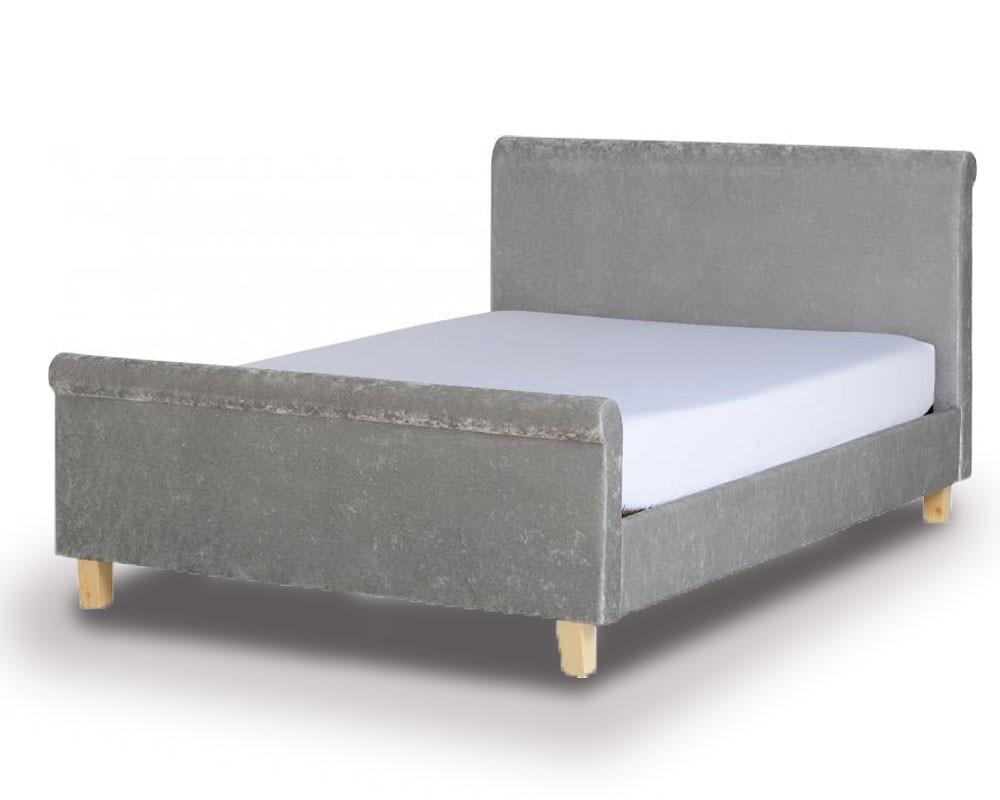Sheldon Grey Velvet Double Bed Frame