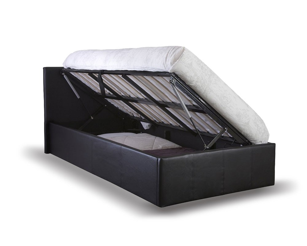 Outstanding Side Lift Ottoman Storage Single Bed Frame In Black Or Brown Faux Leather Bralicious Painted Fabric Chair Ideas Braliciousco
