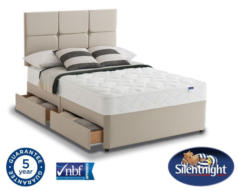 Silentnight Essentials Easycare Double 4 Drawer Divan Bed