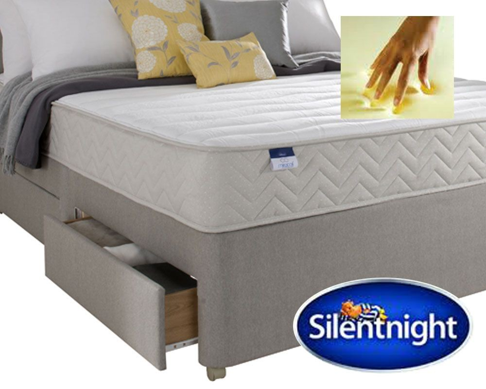 Silentnight Seoul Single 2 Drawer Divan Bed With Memory Foam