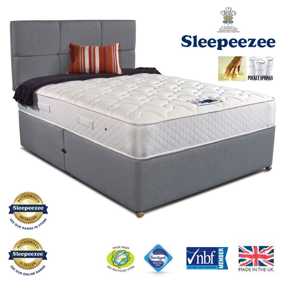 Sleepeezee Memory Comfort 800 Three Quarter Two Drawer Divan Bed