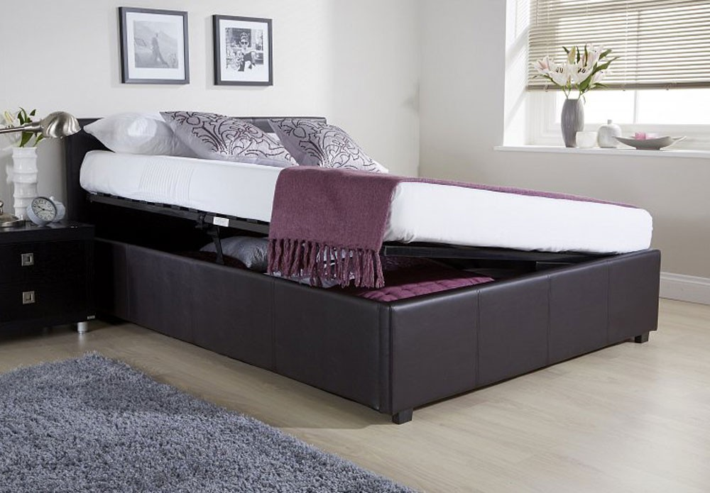 Side Lift Up Bed Storage : Side lift ottoman storage brown double bed frame