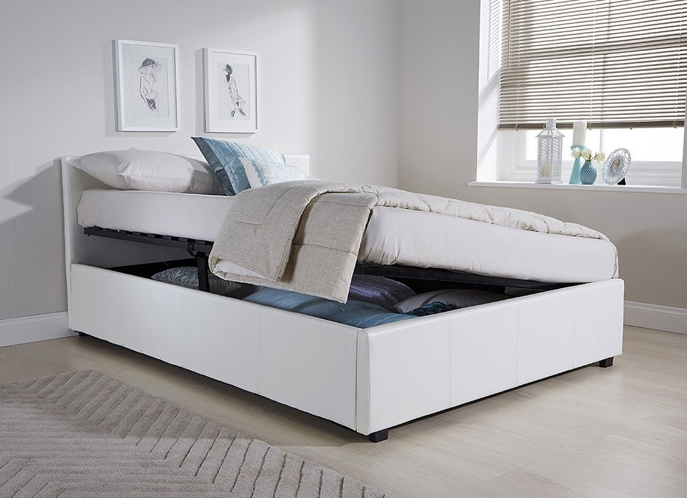 side lift ottoman storage king size bed frame white faux leather. Black Bedroom Furniture Sets. Home Design Ideas