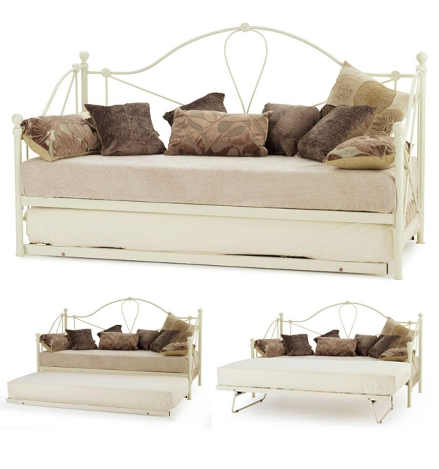 Std. Single Lyon Ivory Day Bed With Visitor Frame