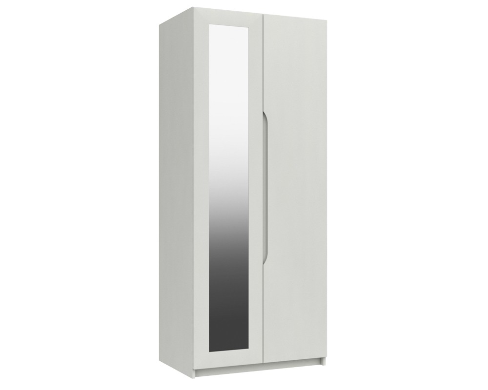 Alpine White Gloss 2 Door Robe With Mirror