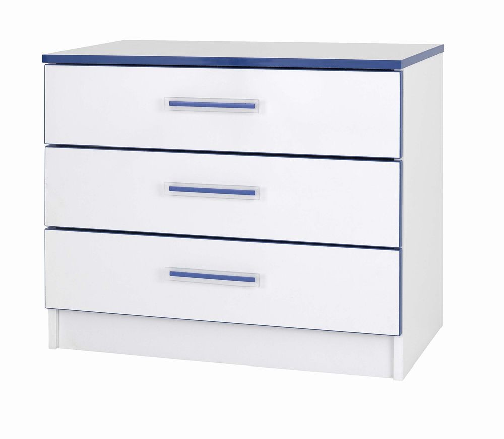 Teen Mode Blue 3 Drawer Wide Chest