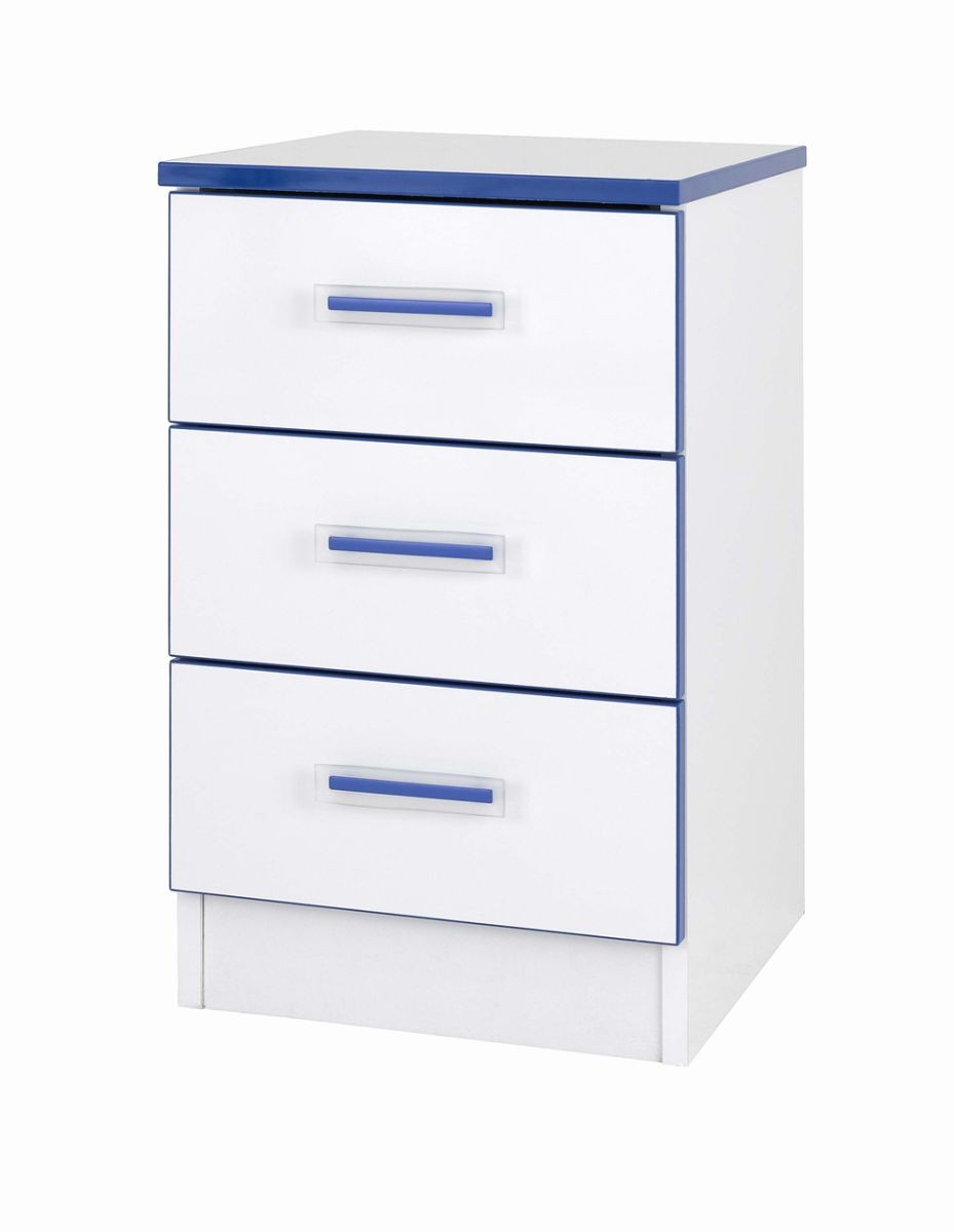 Teen Mode Blue 3 Drawer Bedside