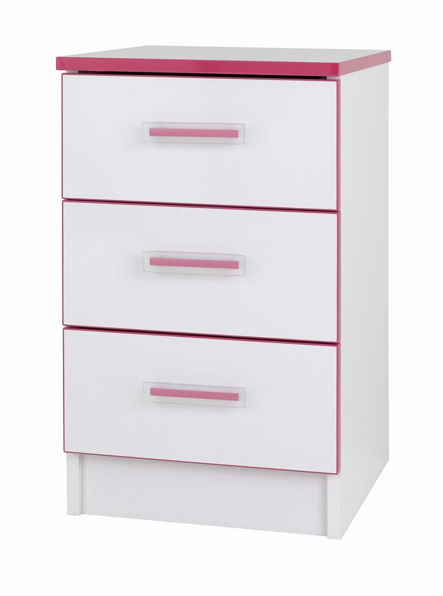 Teen Mode Pink 3 Drawer Bedside