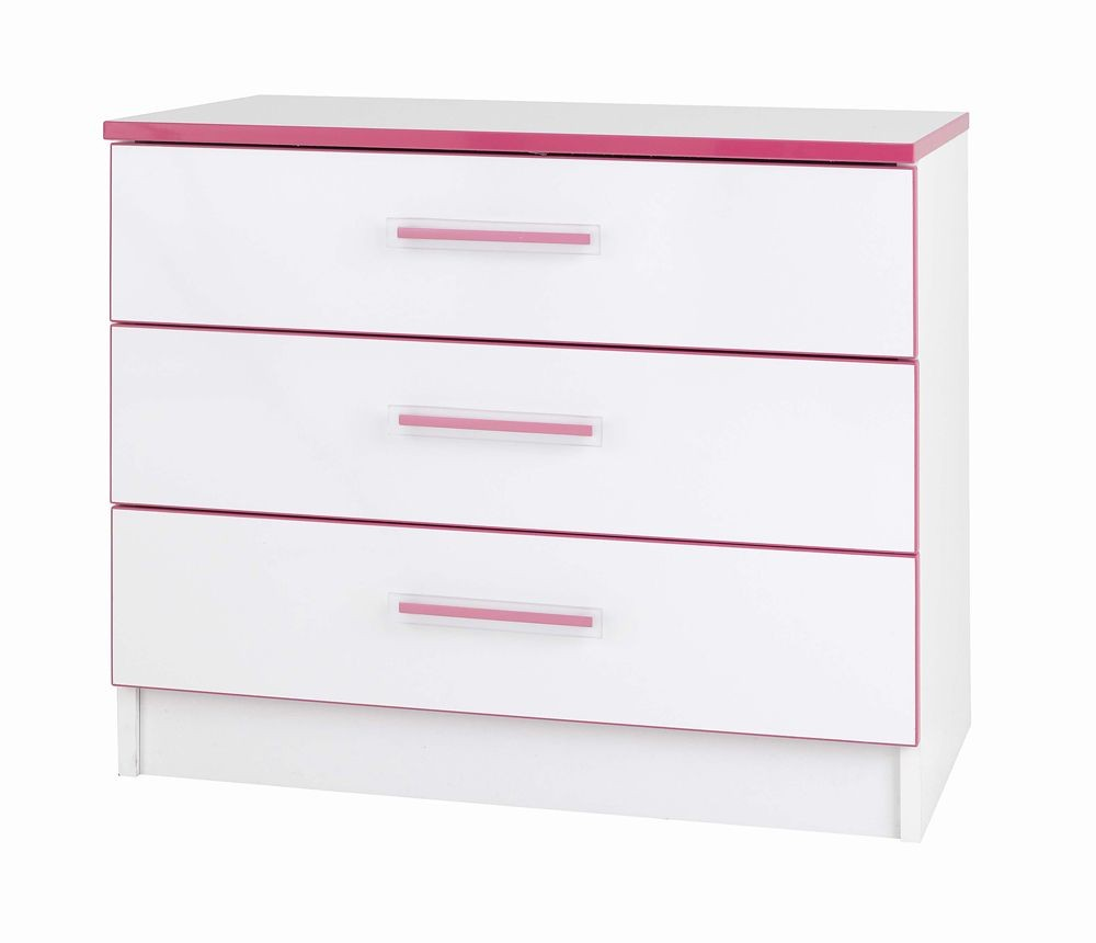 Teen Mode Pink 3 Drawer Wide Chest
