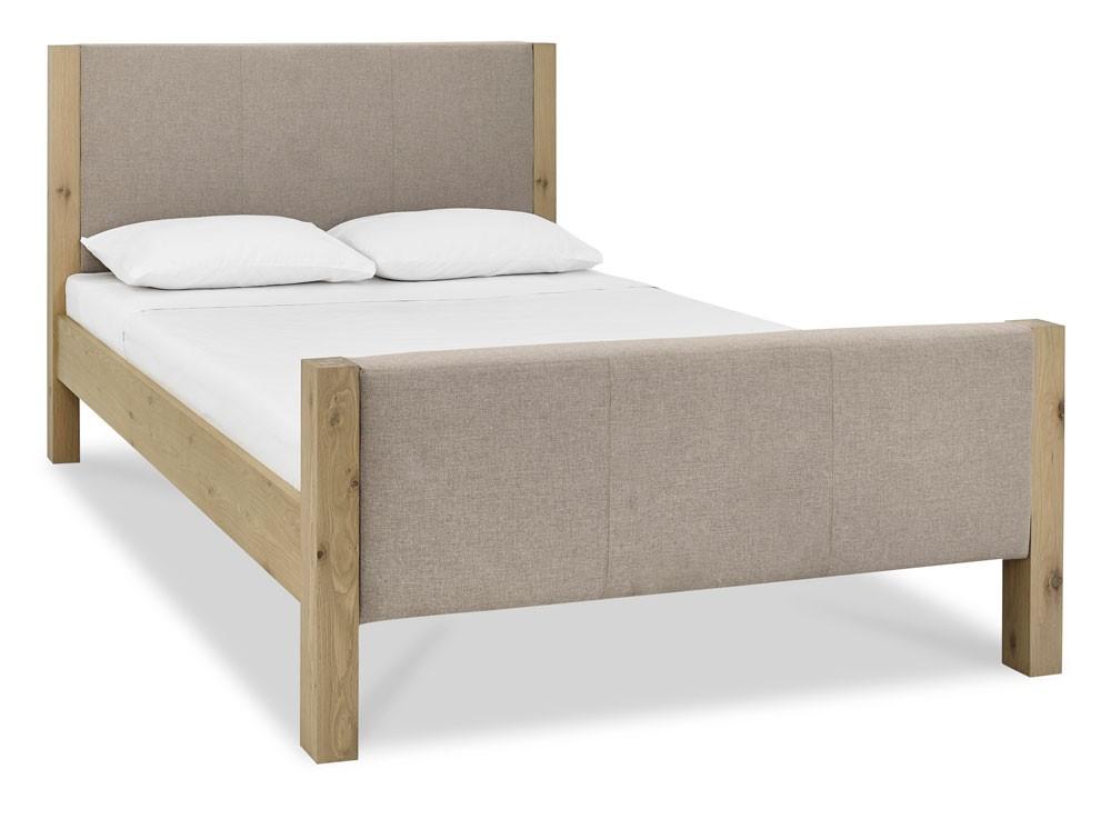 Turin Aged Oak High Foot Upholstered Bed Frame