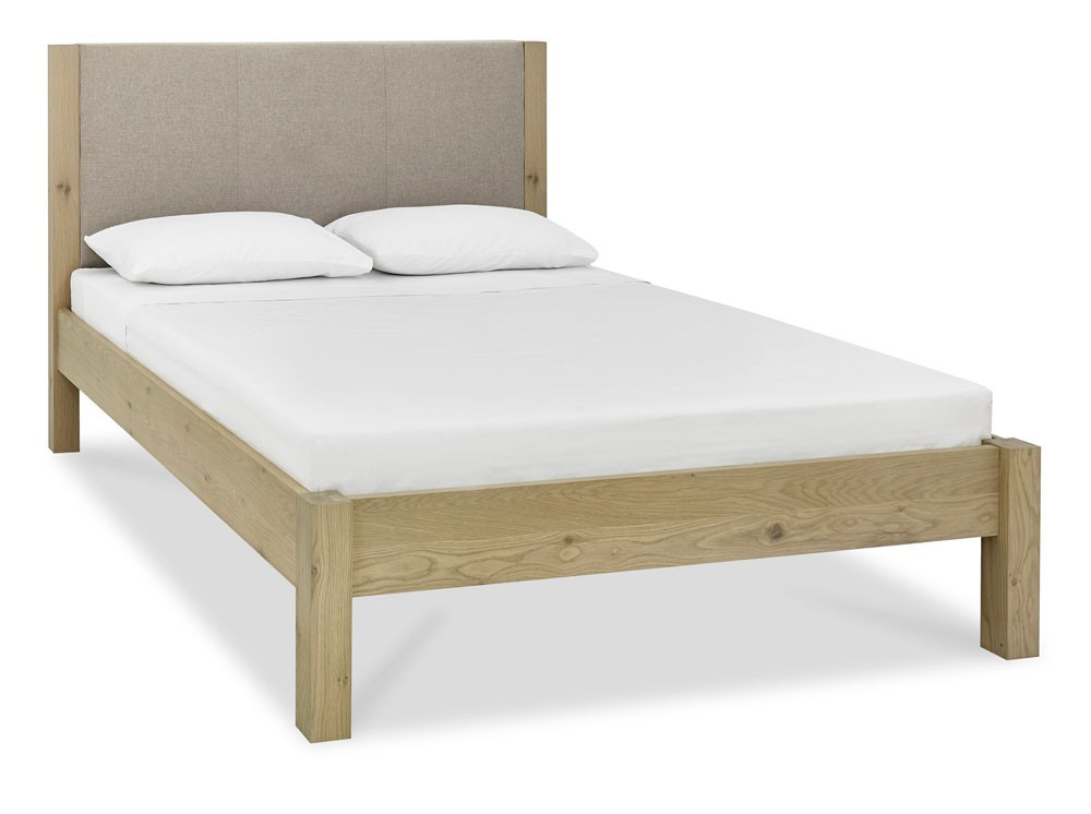Turin Aged Oak Low Foot Upholstered Bed Frame