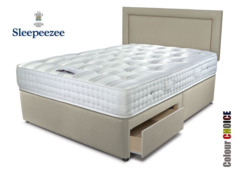 Sleepeezee ultrafirm 1600 double divan bed for Double divan bed with firm mattress