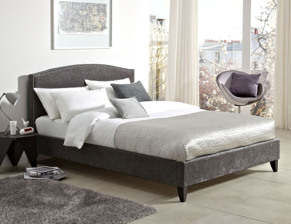 Lotty Steel Grey Double Bed Frame