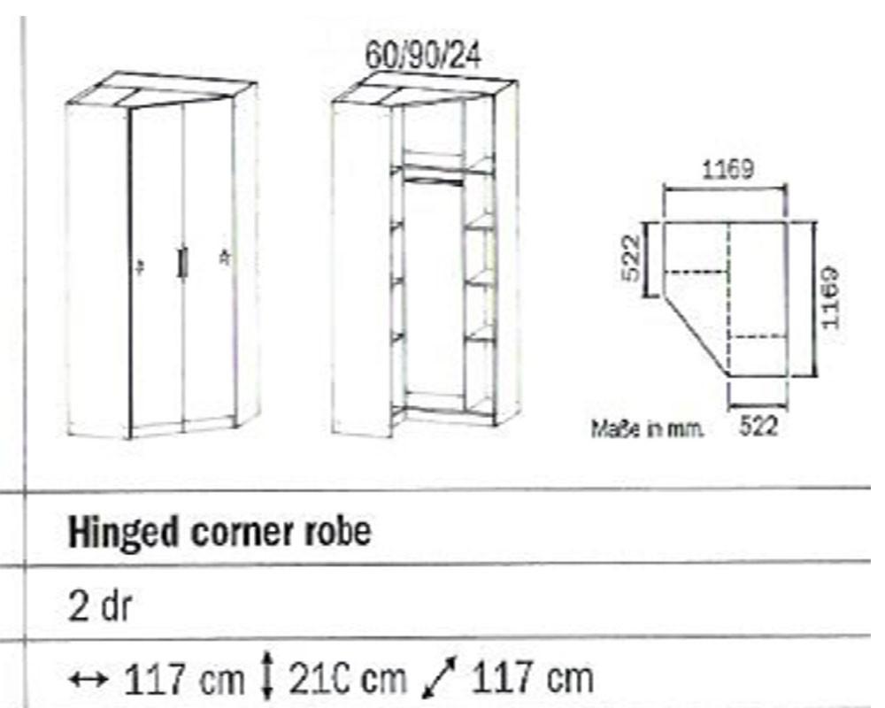 Rauch 2 Door Corner Robe