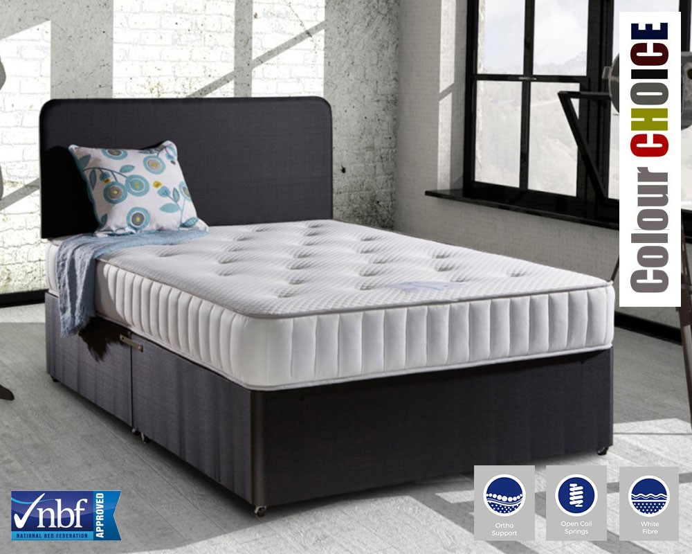 Firmflex ortho deluxe double divan bed for Double divan bed without headboard