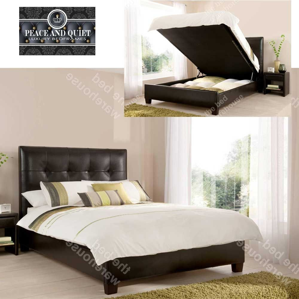 Walker Brown Leather Double Ottoman Storage Bed Frame