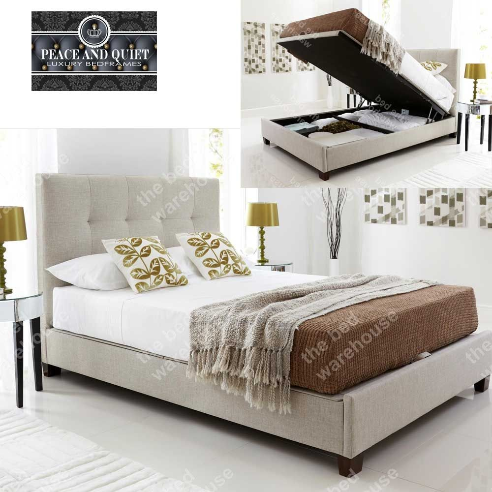 Walker Oatmeal Fabric Double Ottoman Storage Bed Frame