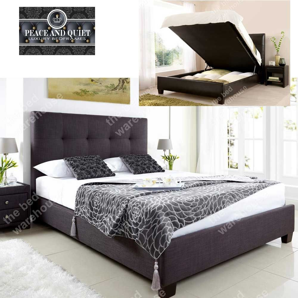 Walker Slate Fabric Kingsize Ottoman Storage Bed Frame