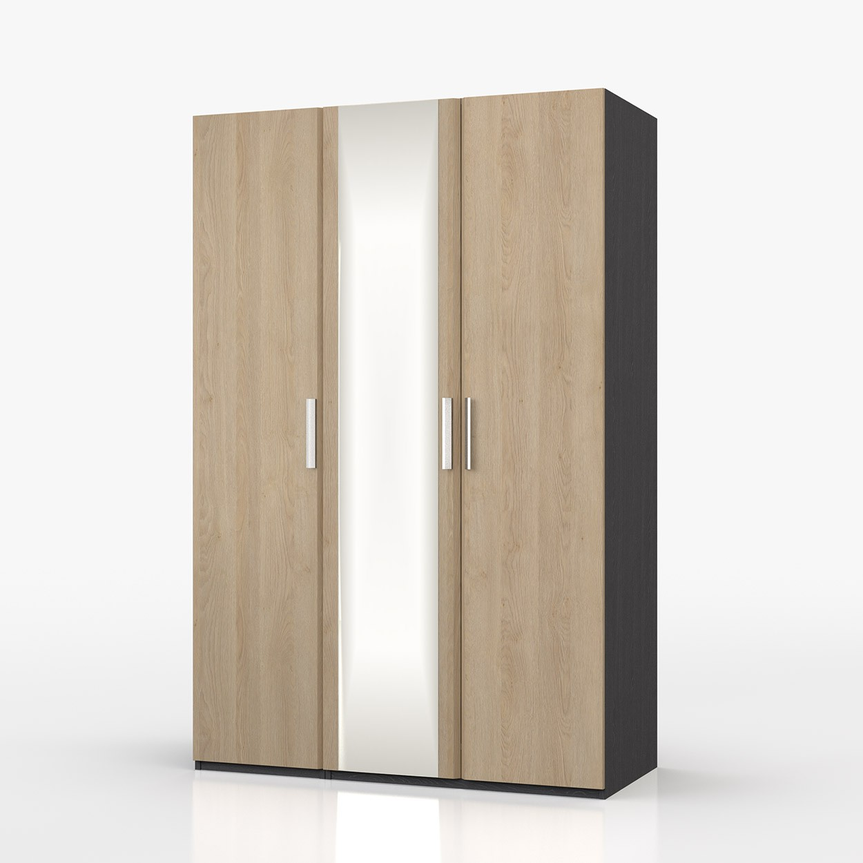Waterfall Graphite And Oak 3 Door Robe With Mirror