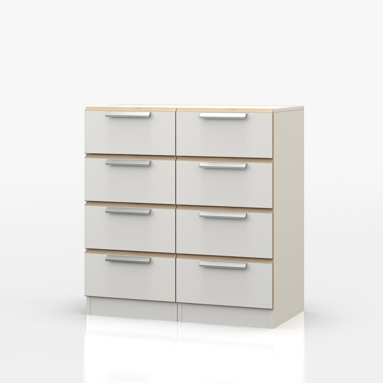 Waterfall Oak And White 8 Drawer Narrow Chest