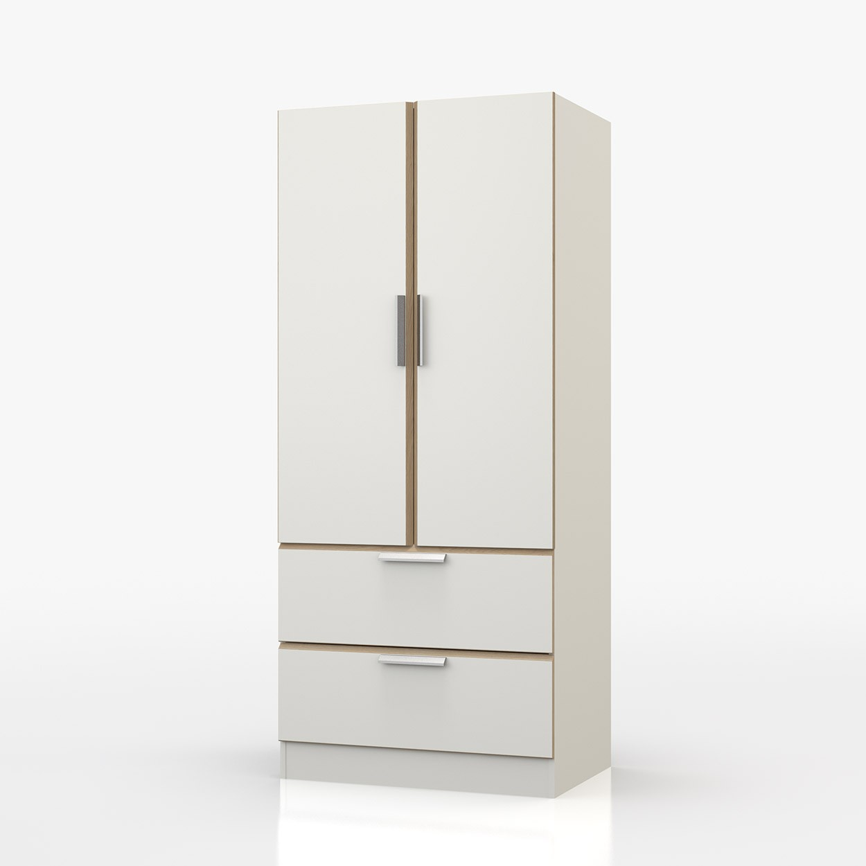 Waterfall Oak And White 2 Door 2 Door Wardrobe