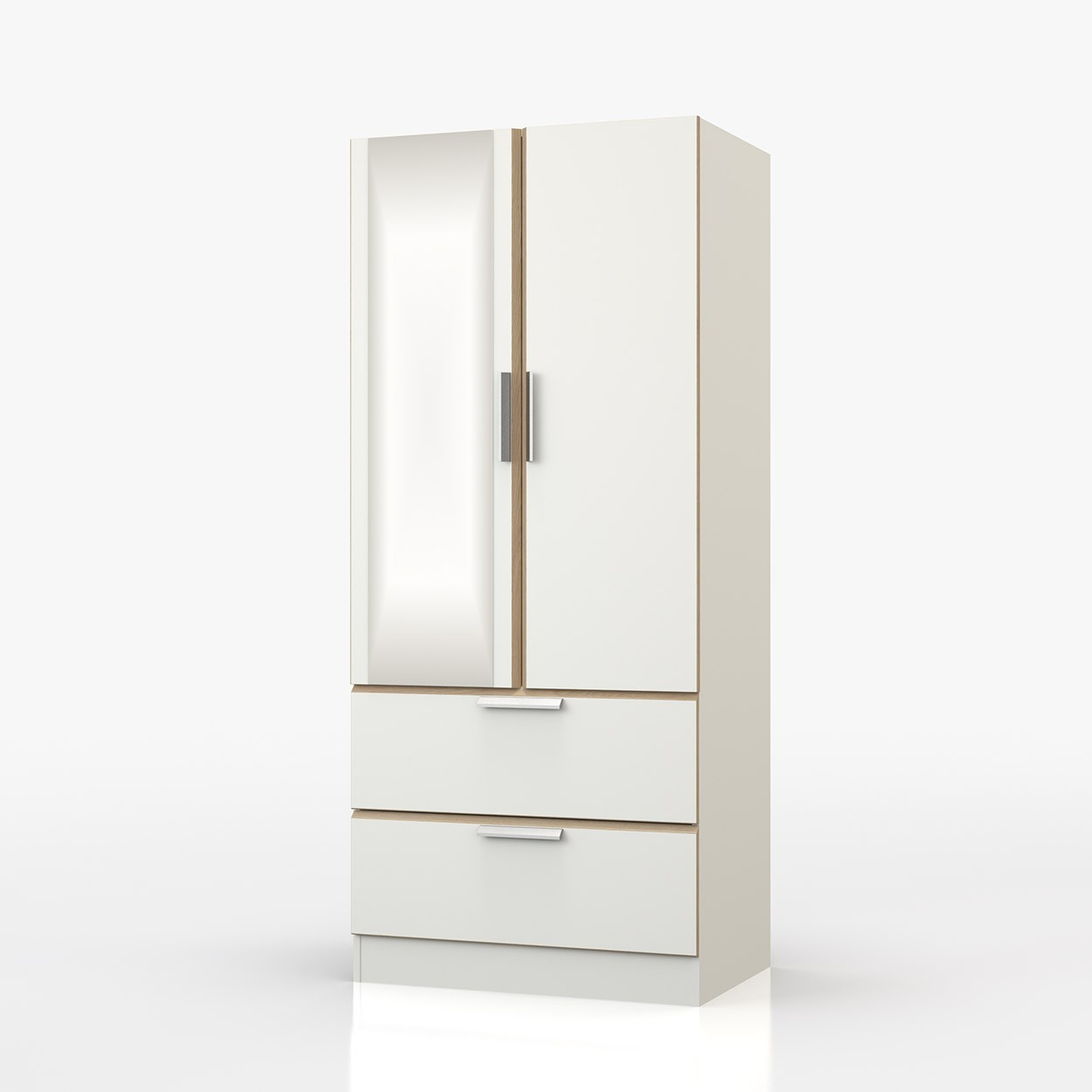 Waterfall Oak And White Mirror Combi Robe