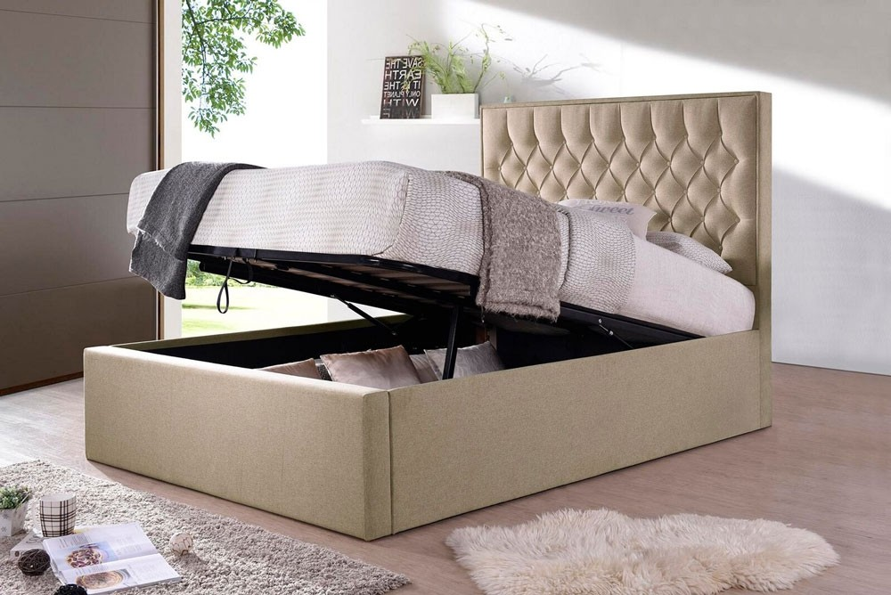 Winter Oatmeal Fabric Ottoman Bed Frame