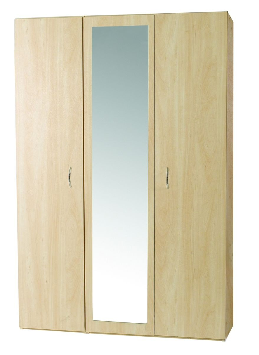 Woodgrain 3 Door Robe With Mirror.