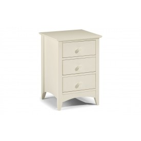 Cambell White 3 Drawer Bedside
