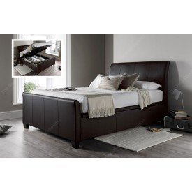 Allen Brown Leather Ottoman Storage Bed