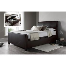 Allen Brown Leather Ottoman Storage Bed