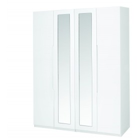 Alpine White Gloss Super Size 4 Door Robe With Mirror