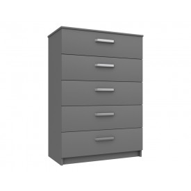 Arden Dust Grey Gloss 5 Drawer Chest