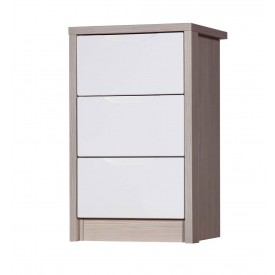 Avola Champagne With Cream Gloss 3 Drawer Bedside
