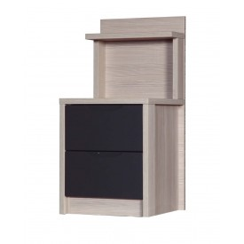 Avola Champagne With Grey Gloss 2 Drawer Deluxe Bedside