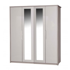 Avola Champagne With Sand Gloss 4 Door Mirror Robe