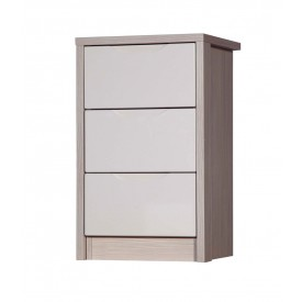 Avola Champagne With Sand Gloss 3 Drawer Bedside