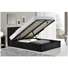 Berlin Parade Black Velvet Ottoman Storage Bed Frame