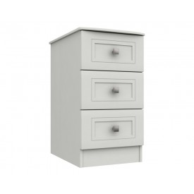 Cambridge White 3 Drawer Bedside