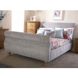 Chicago Silver Sleigh Bed Frame